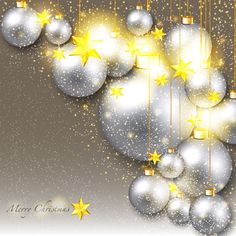 christmas decor with golden star and silver ball