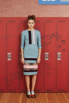 tata naka fall 2013. Blue, stripe & sheer dress