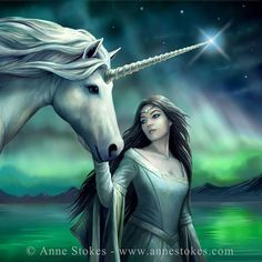 North Star by Anne Stokes Unicorn And Fairies, Unicorn Fantasy, Unicorns And Mermaids, Unicorn Art, Unicorn Crafts, Magical Unicorn, Anne Stokes, Magical Creatures, Fantasy Creatures