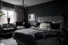 Plascon House Tour: The Sultry, Dark Shades of a Swedish apartment - SA Decor & Design Charcoal Bedroom, Black And Grey Bedroom, Dark Bedroom Walls, Black Bedroom Design, Grey Bedroom Decor, Grey Room, Room Ideas Bedroom, Home Room Design, Big Bedrooms