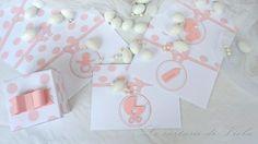 BIGLIETTO DI INVITO NASCITA BATTESIMO BABY SHOWER POIS ROSA, by Le cartasie di Viola, 1,80 € su misshobby.com