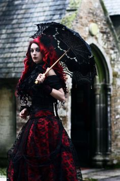 goth - Oh wow! Gorgeous! Delicately done and yet still dark. Love the dress. Love the hair. She looks stunning. :)