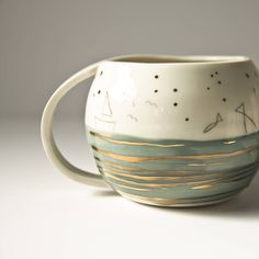 Fisherman's Dream Porcelain And Gold Drinking Mug
