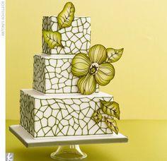 Green Flower Tiled Squares White Wedding Cake