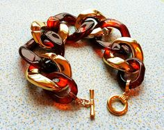 Tortoise Shell And Gold Bracelet Chunky Amber And by Meant2Bead, $18.00