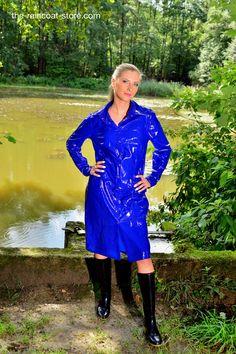Shiny Blue PVC Shirt Dress by KEMO-Cyberfashion