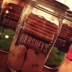 I made these to give as Christmas gifts for my coworkers & paraprofessionals. A pack of holiday PEEPS, graham crackers, mini Hershey chocolate bars, & a mason jar. teacher gifts, christmas gift ideas, coworker holiday gifts, teacher idea, mason jar gifts for christmas, christma gift, mason jar gifts for coworkers, mason jar christmas gifts, mason jars