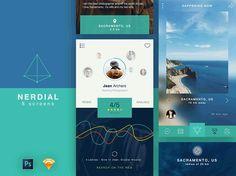 Nerdial App UI Kit 8 Screens PSD Free Sketch Formats uiSurf