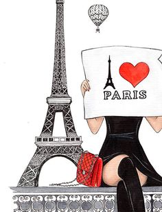 Paris in black and red / Paris art print