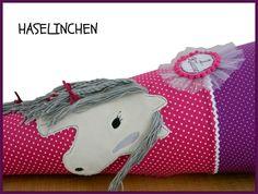 Inspiration für den Schulanfang und die Einschulung: Schultüte  Pferd lila, fuchsia, später Kissen / inspiration for the first day of school made by HASELINCHEN via DaWanda.com