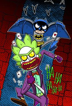 Rick and Morty x Batman & The Joker Rick And Morty Image, Rick I Morty, Rick And Morty Drawing, Rick And Morty Tattoo, Pop Art Wallpaper, Cartoon Wallpaper, Rick And Morty Crossover, Rick And Morty Characters, Rick And Morty Poster