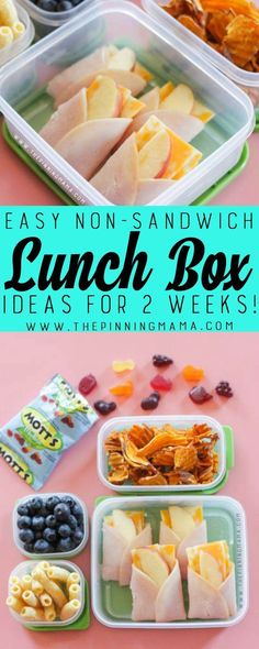 Turkey Apple & Chees Turkey Apple & Cheese Pockets Lunch box idea - Just one of 2 weeks worth of non-sandwich school lunch ideas that are fun healthy and easy to make! Grab your lunch bag or bento box and get started! Non Sandwich Lunches, Lunch Snacks, Healthy Snacks, Healthy Recipes, Kid Snacks, Healthy Cold Lunches, Bento Box Lunch, Lunch Boxes, Detox Recipes