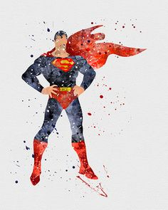 Superman Watercolor Art