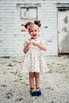 Lenox dress and headband in Kaleidoscope fabric line available at Windham Fabrics Little Lizard, Windham Fabrics, Pin Tucks, Ruffle Sleeve, Woven Fabric, Toddler Girl, Bodice, Flower Girl Dresses, Wedding Dresses