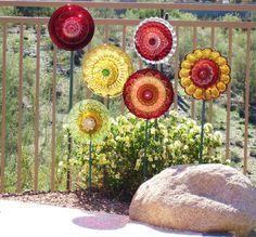 Garden Art Decor Glass Plate Art Flower Suncatcher by jarmfarm