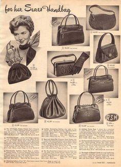 Vintage Women's Handbags from a 1952 Sears catalog