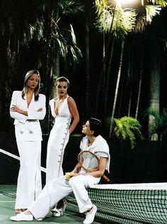Country Club Life Style / karen cox. US Vogue May 1993 White Mischef Kristen McMenamy Rachel Williams and Eva Herzigova by Helmut Newton
