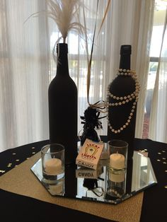 Painted Wine Bottles/ Centerpieces 1920's/ Great Gatsby