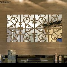 Mirrored Wrought Iron Pattern Wall Decoration (32 Pc) - Wall Art - www.taccitygoods.com - 1