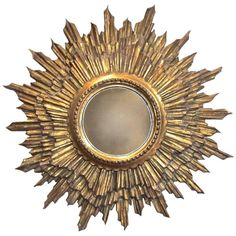 Italian Sunburst Giltwood Convex Wall Mirror   From a unique collection of antique and modern convex mirrors at https://www.1stdibs.com/furniture/mirrors/convex-mirrors/