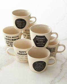 Weekday Mugs, 7-Piece Set