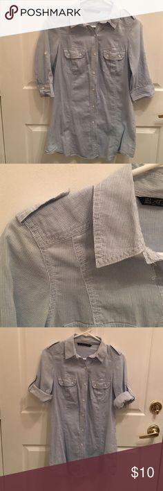 Zara long button down shirt/ tunic Looks like a mini dress on me, I'm 5'3. Zara Tops Tunics