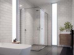 Stegbars semi frameless showerscreens are constructed and sealed to the highest quality to minimise water leakage from the shower enclosure. Frameless Shower, Shower Screen, Shower Enclosure, House Goals, Bathroom Inspiration, Indoor Outdoor, Minimalism, Bathtub, Interior Design