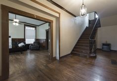 The foyer is large and inviting. Stone Mansion, Washington Street, Renting A House, Foyer, Mansions, Home Decor, Decoration Home, Manor Houses, Room Decor