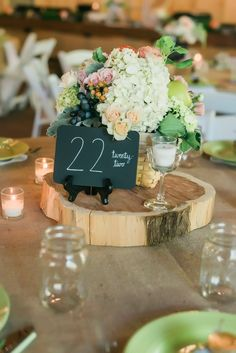 Blush & Mint Floral and Woodblock Centerpiece