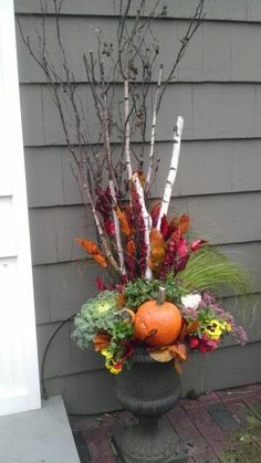 100 Cozy & Rustic Fall Front Porch decor ideas to feel the yawning autumn noon w. , 100 Cozy & Rustic Fall Front Porch decor ideas to feel the yawning autumn noon winds & watch the ember red leaves burn out slowly. Fall Flower Pots, Fall Flowers, Purple Flowers, Fall Wagon Decor, Fall Containers, Fall Container Gardening, Succulent Containers, Fall Planters, Outdoor Planters