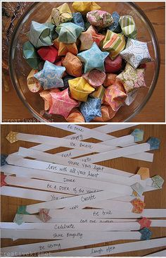Star origami with note inside - attach to birthday gifts, slip into lunch boxes, tuck under pillows, etc.