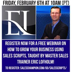 Join me on my #webinar where I will discuss how to #growyourbusiness using sales scripts saleschampion.com/go/salesscripts/