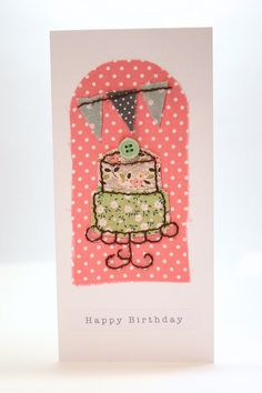 Handmade Birthday Card Fabric Collage Cake and by PaperSoupCards