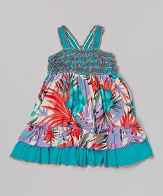 Look what I found on #zulily! Teal & Red Floral Shirred Dress - Toddler & Girls by Lele Vintage #zulilyfinds