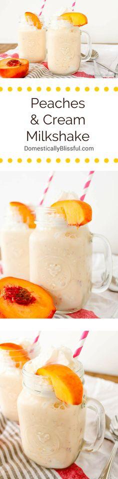 This Peaches and Cream Milkshake is perfectly creamy & sweetened with the tastiest of fresh peach flavor! | http://domesticallyblissful.com/peaches-and-cream-milkshake/