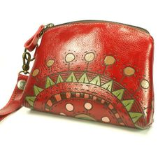 Leather Bag Purse  Red Sunrise