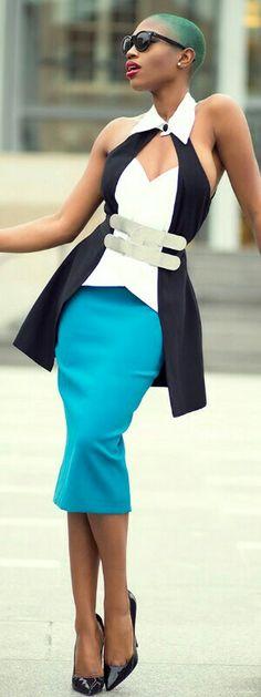Versace Skirt,Nicole Bakti top, ASOS belt / Sai Sankoh
