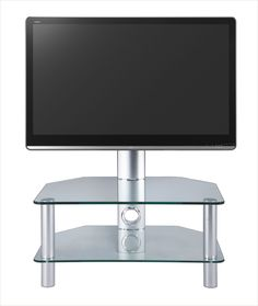"""Swivel Clear Glass Cantilever TV Stand up to 37"""" by Stil Stand. Suits up to 37"""" LCD, LED & Plasma Televisions Cable Management Facility Built In Toughened Safety Glass Shelves Silver Legs VESA Mount - Max 450mm x 275mm 30 degree swivel function for TV.  All of our cantilever TV stands are compatible with most popular brands of television.  Dimensions: 700mm (w) x 500mm (d) x 964 (h) mm  stuk2052cl."""