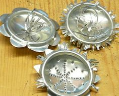 Recycled Aluminum Can Bottoms Garden Art Ornaments - By  Gingerbread & Snowflakes