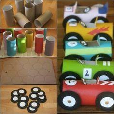 Cochecitos con rolllos de papel, cartulina y colores. Útil para jugar y para rellenar con caramelos.