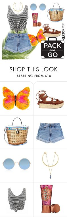 """diabla"" by floo-carriillo ❤ liked on Polyvore featuring Stuart Weitzman, Dolce&Gabbana, Levi's, Sunday Somewhere, Vanessa Mooney, Benefit, Packandgo and greekislands"