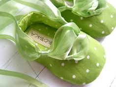 Apple Green Dot Ballet Shoes For Your Baby Girl by BobkaBaby, $32.00