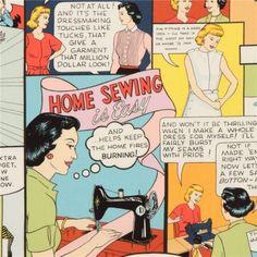 Retro 50er Jahre Nähen Werbe Stoff von Alexander Henry USA