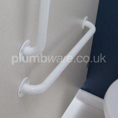 DDA compliant straight grab rail in White. Toilet Accessories, Clothes Hooks, Washroom, Bathtub, Packing, Stuff To Buy, Standing Bath, Bag Packaging, Wash Room