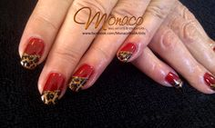 Red and Gold Leopard #NailArt $55 NZD from https://www.facebook.com/MonacoNailArtists