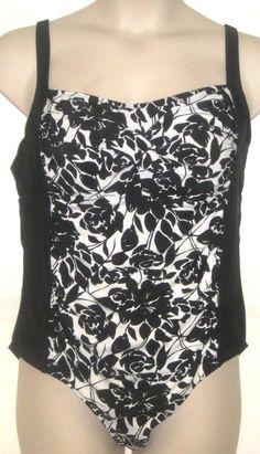 d1401de920ee2 Ava Viv Women s Black White Floral One Piece Swim Suit Plus Size 18W 2X