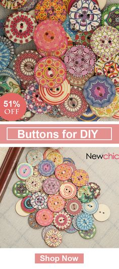 [Click to BUY] UP to 51% OFF -- 50Pcs Multi-Color Wooden Buttons Round Sewing Buttons for DIY Craft Bag Hat Clothes Decoration#newchic#newchichome#diycrafts#cuttons