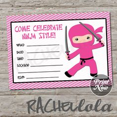 Pink Ninja birthday invitation, Print Now, do-it-yourself, digital print, instant download