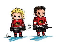 Chibi Kane and Toews Blackhawks Hockey, Hockey Teams, Chicago Blackhawks, Hockey Players, Ice Hockey, Hockey Stuff, Hockey Rules, Black Hawk, Home Team