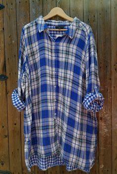 NWT Lane Bryant Women's Blue & Black Plaid Flannel Tunic Top Shirt Size…